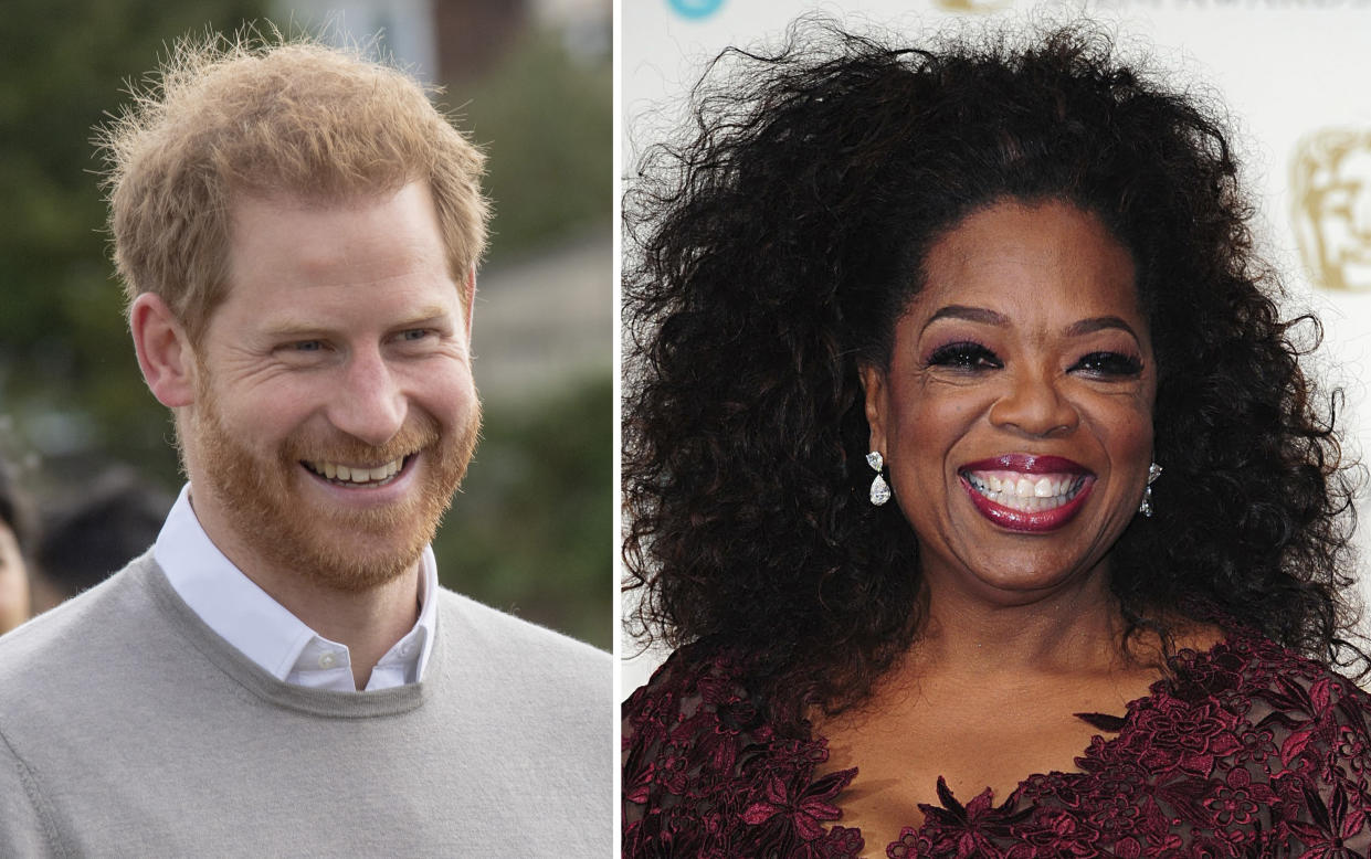 Prince Harry and Oprah Winfrey are speaking out about mental health. (Photo: PA/PA Images via Getty Images)