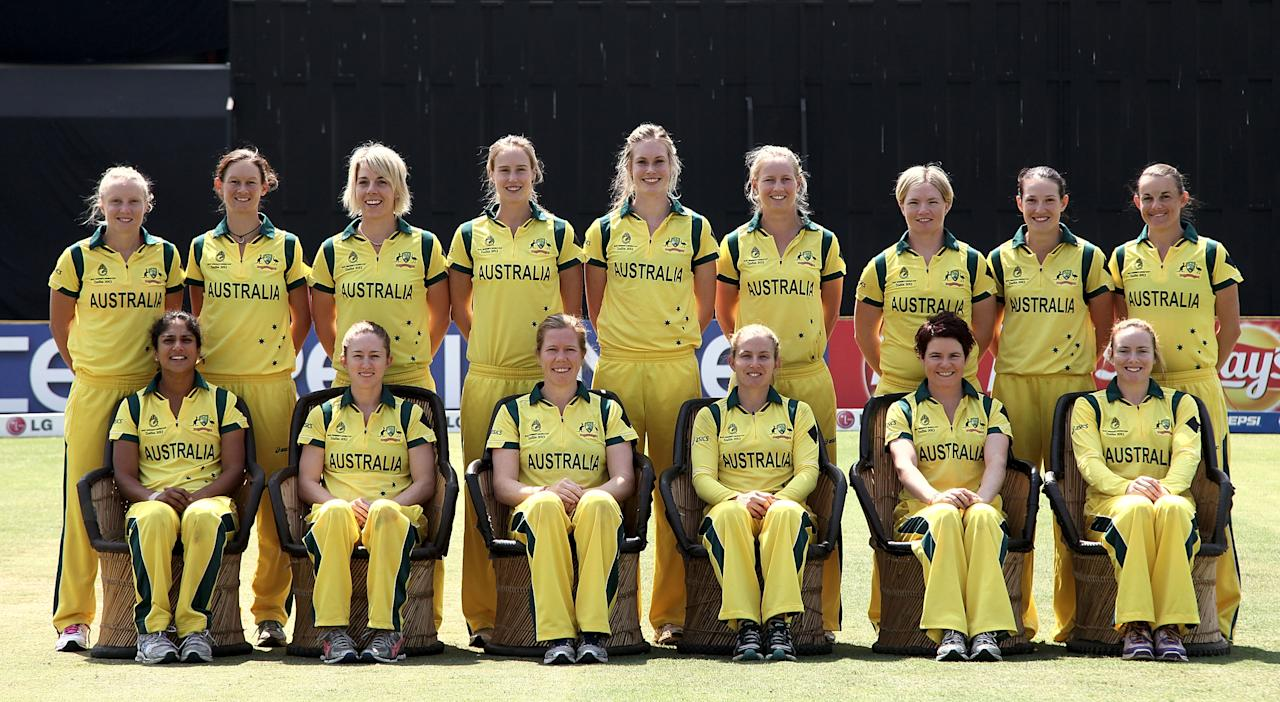 MUMBAI, INDIA - FEBRUARY 17: The Australian team ahead of the final between Australia and West Indies of the Women's World Cup India 2013 played at the Cricket Club of India ground on February 17, 2013 in Mumbai, India. (Photo by Graham Crouch/ICC via Getty Images)