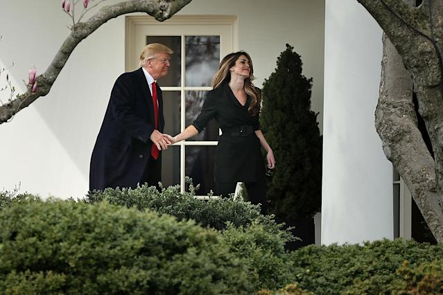 President Trump and Hope Hicks's final moment is called awkward on social media. (Photo: Getty Images)