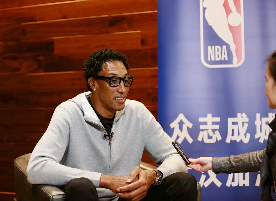 CHICAGO, Feb. 17, 2020 -- Scottie Pippen, a National Basketball Association legendary figure, speaks during an interview with Xinhua in Chicago, the United States, on Feb. 16, 2020. Scottie Pippen has voiced his support for China, which is fighting the novel coronavirus disease COVID-19 outbreak. (Photo by Wang Ping/Xinhua via Getty) TO GO WITH