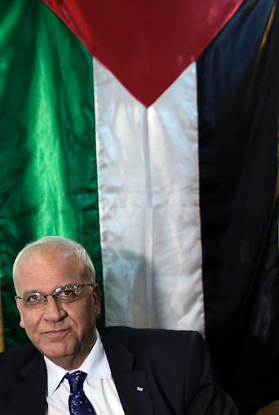 Saeb Erekat, Chief Palestinian negotiator, looks on during a press conference in Jerusalem on March 19, 2015 (AFP Photo/Ahmad Gharabli)