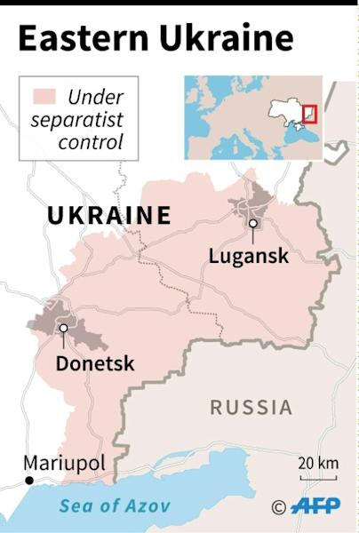 Map of eastern Ukraine locating the area occupied by pro-Russian separatist forces. The UN's top court will on Wednesday rule on Ukraine's complaint against Russia