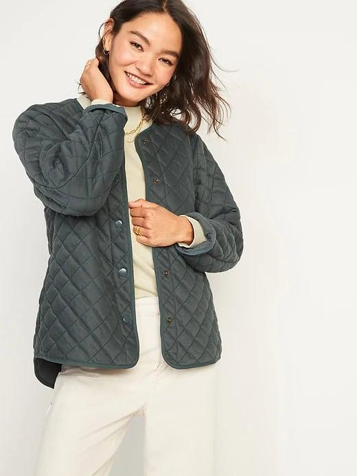 <p>This neutral <span>Old Navy Quilted Jacket</span> ($60) would also make a great bottom layer when it's super cold out, too.</p>