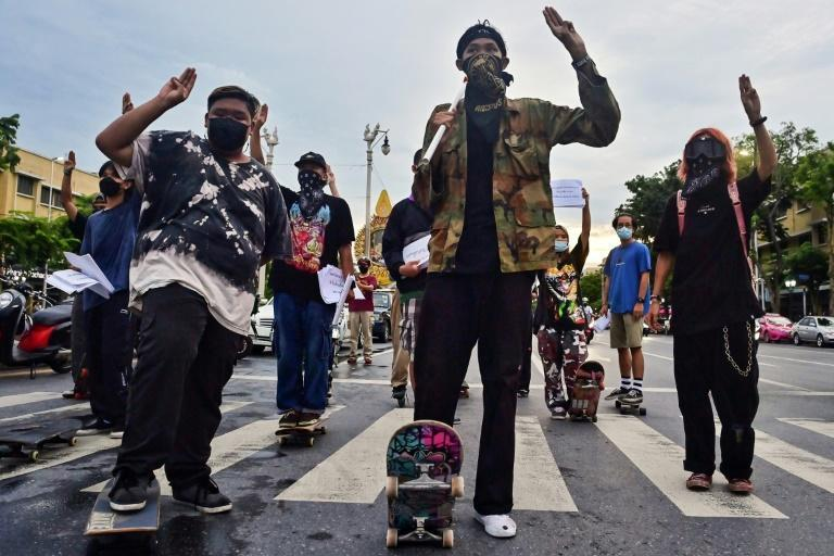 Most skateboarders are working-class youngsters whose families have been hit hardest by the pandemic and restrictions (AFP/Lillian SUWANRUMPHA)