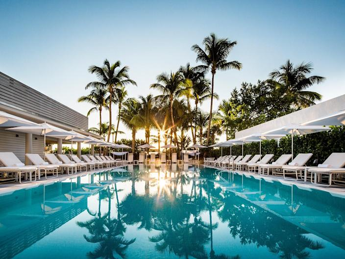 """<p>Escape the chaos of <a href=""""https://www.cntraveler.com/destinations/miami?mbid=synd_yahoo_rss"""" rel=""""nofollow noopener"""" target=""""_blank"""" data-ylk=""""slk:Miami Beach"""" class=""""link rapid-noclick-resp"""">Miami Beach</a> with an afternoon by the elegant pool at this <a href=""""https://www.cntraveler.com/hotels/miami-beach/metropolitan-by-como-miami-beach?mbid=synd_yahoo_rss"""" rel=""""nofollow noopener"""" target=""""_blank"""" data-ylk=""""slk:COMO outpost"""" class=""""link rapid-noclick-resp"""">COMO outpost</a> (<em>rooms from $250</em>). Starting at $95 via ResortPass, a pool pass here includes: pool access, poolside food and drink service, complimentary wifi, discounted $15 valet parking, and most categories of passes include a food and beverage credit equal to the price of your day pass. In other words, the cost of admission basically pays for itself.</p> <p><strong>Reserve a spot</strong>: <a href=""""https://www.resortpass.com/hotels/como-metropolitan-miami-beach"""" rel=""""nofollow noopener"""" target=""""_blank"""" data-ylk=""""slk:resortpass.com"""" class=""""link rapid-noclick-resp"""">resortpass.com</a></p>"""