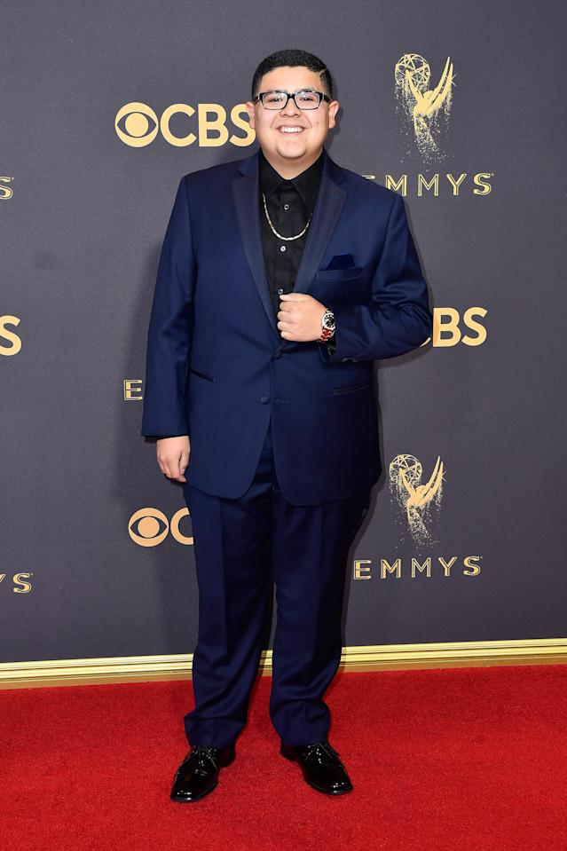 <p>Rico Rodriguez attends the 69th Primetime Emmy Awards at the Microsoft Theater on Sept. 17, 2017, in Los Angeles. (Photo: Getty Images) </p>