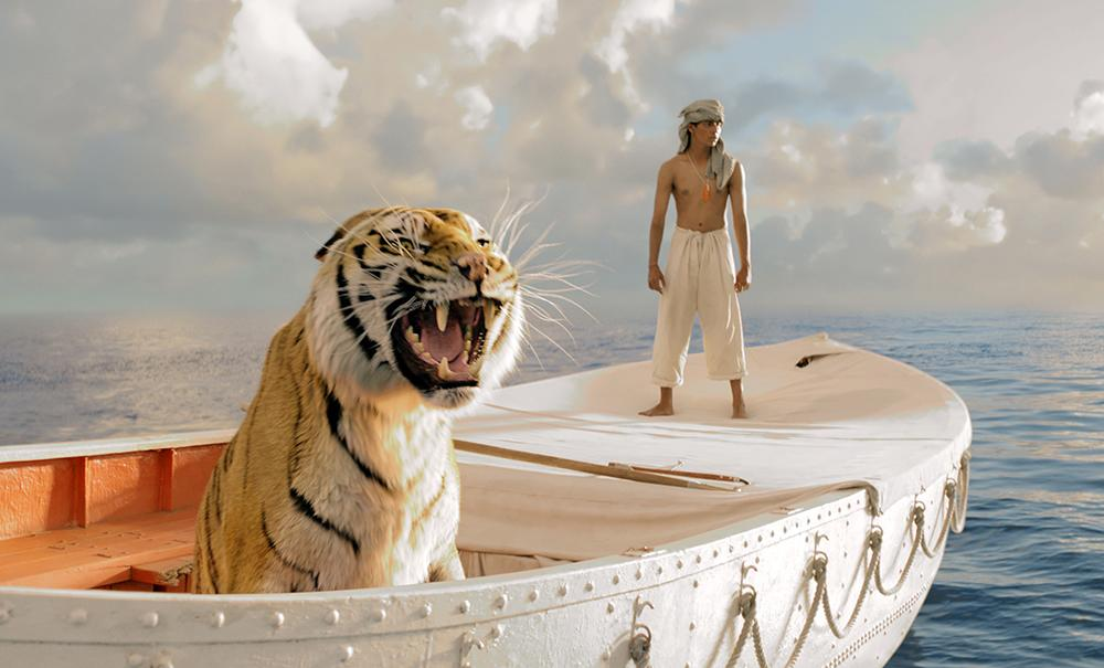 "In ""Life of Pi,"" a nominee for Best Motion Picture -- Drama, the boat finally makes it to the shore of Mexico. However, there is no sand spray from the tiger's paws when he jumps into the jungle."