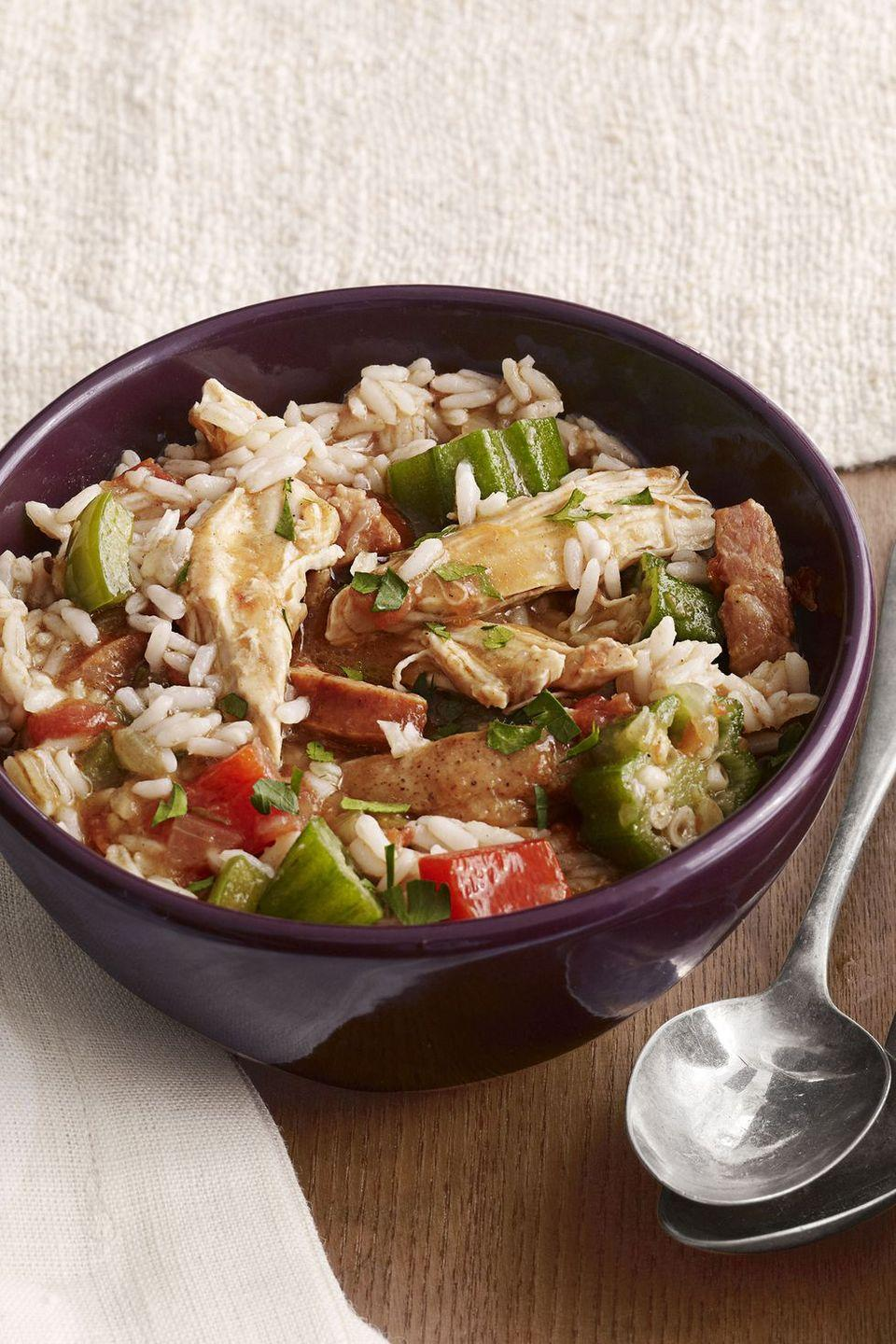 "<p>A warming stew full of bright, crisp veggies, lean chicken, and spicy andouille sausage, this gumbo is a stick-to-your-ribs dish that's perfect during the cold winter months.</p><p><strong><a href=""https://www.countryliving.com/food-drinks/recipes/a4077/chicken-andouille-gumbo-recipe-clv0212/"" rel=""nofollow noopener"" target=""_blank"" data-ylk=""slk:Get the recipe."" class=""link rapid-noclick-resp"">Get the recipe.</a></strong></p>"