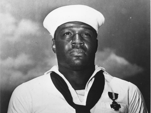 Doris Miller with navy cross medal awarded at Pearl Harbour (United States National Archive)