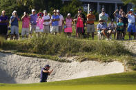 Phil Mickelson hits out of the bunker on the 17th hole during the first round of the PGA Championship golf tournament on the Ocean Course Thursday, May 20, 2021, in Kiawah Island, S.C. (AP Photo/Chris Carlson)