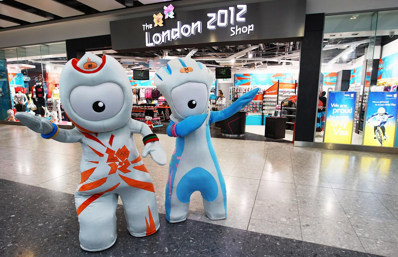 LONDON, ENGLAND - MARCH 01:  2012 mascots, Wenlock and Mandeville strike a pose outside the new London 2012 store during the London 2012 Shop Opening At Heathrow Terminal 5 at Heathrow Airport on March 1, 2011 in London, England.  (Photo by Julian Finney/Getty Images for LOCOG)