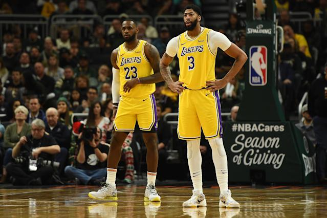 LeBron James and Anthony Davis are both at risk of missing the NBA's marquee Christmas day matchup. (Stacy Revere/Getty Images)