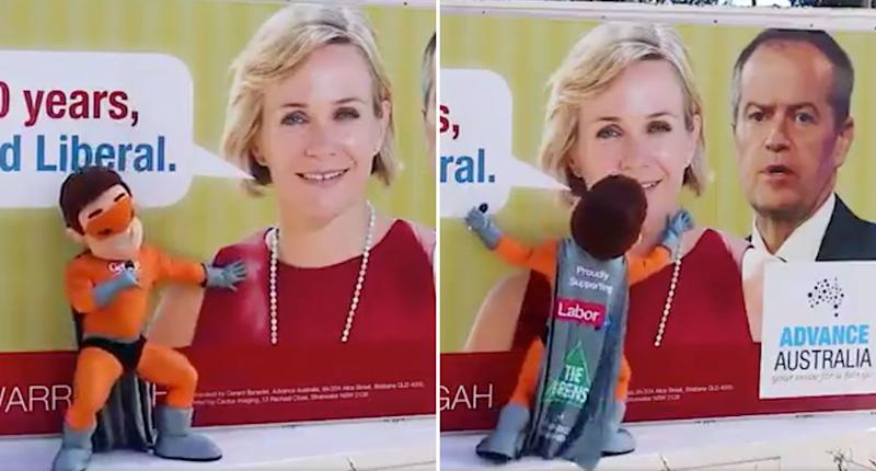 Captain GetUp! rubs up and gyrates on a poster of independent candidate Zali Steggall and Labor leader Bill Shorten. The mascot's creators Advance Australia have been condemned over the video. Source: Twitter/ Matt Burke
