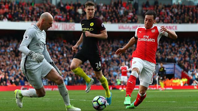 After drawing with Manchester City, Arsenal stars Mesut Ozil, Laurent Koscielny and Theo Walcott were slated by Gary Neville.