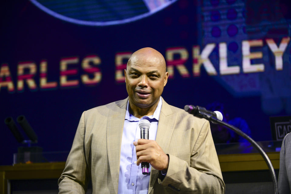 ATLANTIC CITY, NEW JERSEY - SEPTEMBER 08: Charles Barkley  speaks to guests during the Julius Erving Red Carpet and Pairings Party at Premier Night Club at the Borgata Hotel Casino & Spa on September 08, 2019 in Atlantic City, New Jersey. (Photo by Lisa Lake/Getty Images for Julius Erving Golf Classic (a PGD Global Production))