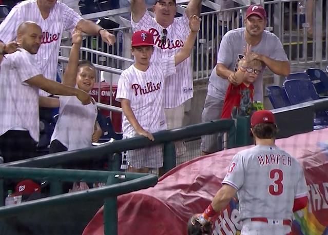 Bryce Harper made a young Phillies fan's day during Thursday's game against the Nationals. (NBC Sports Philadelphia)