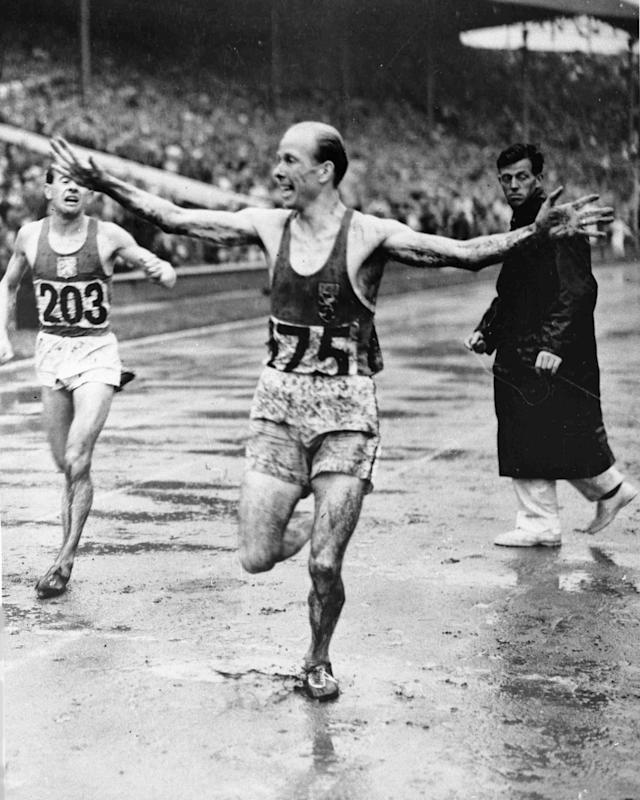 Belgium's Gaston Reiff wins the men's 5,000-metres Olympic Games Final at Wembley Stadium, London, Aug. 2, 1948. Czechoslovakia's Emil Zatopek finishes in second place, left. (AP Photo)