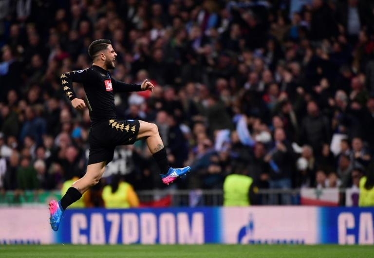 Napoli's midfielder Lorenzo Insigne celebrates a goal during the UEFA Champions League round of 16 first leg football match against Real Madrid CF February 15, 2017