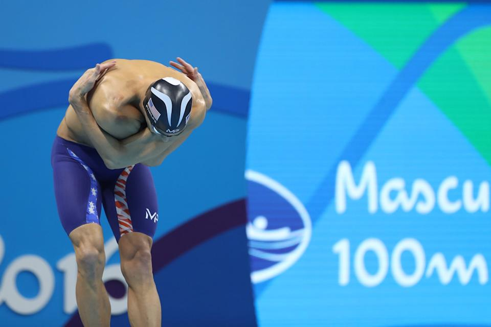 Swimming - Olympics: Day 7  Michael Phelps of the United States at the starting blocks before the Men's 100m Butterfly Final during the swimming competition at the Olympic Aquatics Stadium August 12, 2016 in Rio de Janeiro, Brazil. (Photo by Tim Clayton/Corbis via Getty Images)