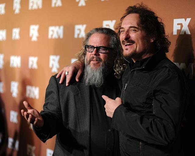 Mark Boone Junior and Kim Coates attend the 2013 FX Upfront Bowling Event at Luxe at Lucky Strike Lanes on March 28, 2013 in New York City.