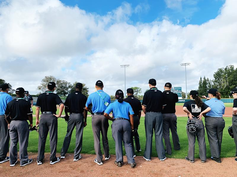 A group of 32 students descended upon Vero Beach, Florida, in December 2019 to learn from former Major League Baseball umpires and take the first steps toward officiating professional games themselves. (Photo by Hannah Keyser/Yahoo Sports)