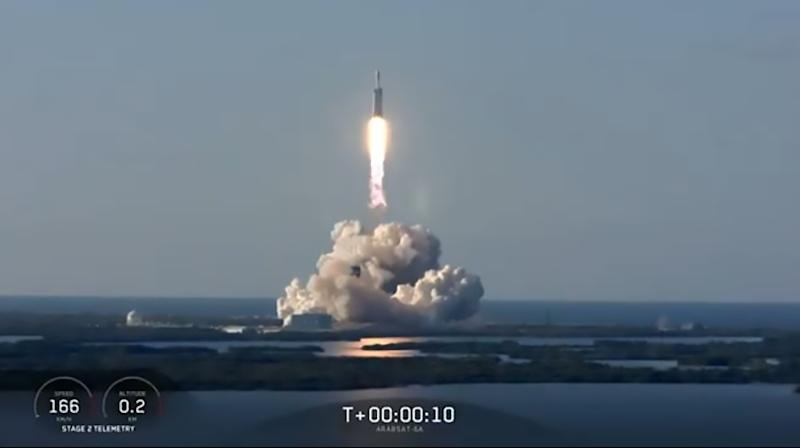 Most powerful rocket takes off on first paid mission