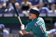 Seattle Mariners' Jarred Kelenic hits a two-run double during the first inning of a baseball game against the Kansas City Royals Sunday, Sept. 19, 2021, in Kansas City, Mo. (AP Photo/Charlie Riedel)