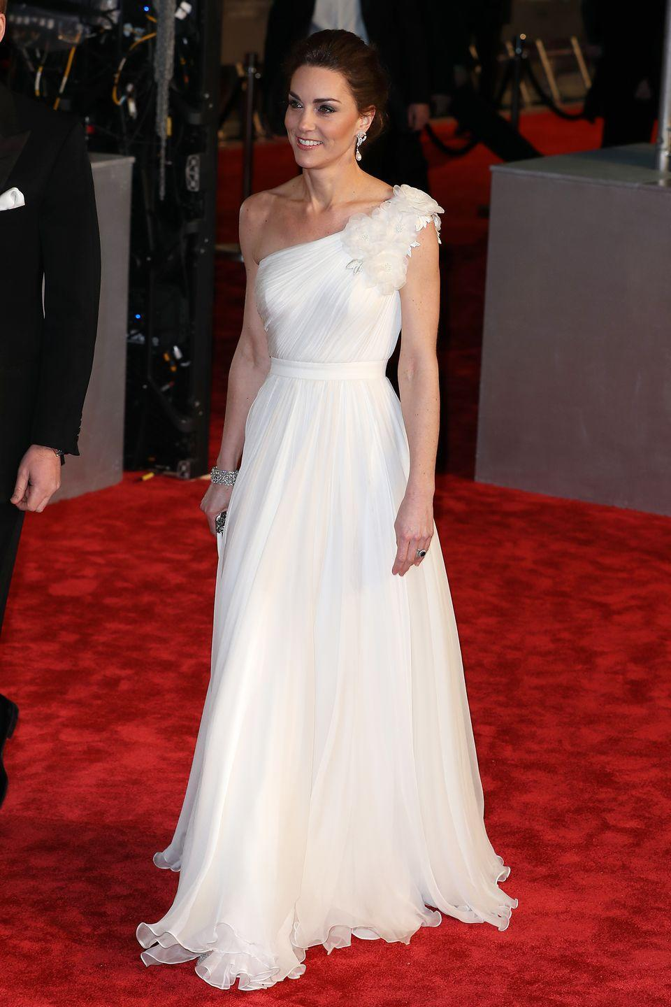 <p>Few make a white gown like McQueen. The Duchess chose this flowing, one-shouldered number for the BAFTA awards. </p>