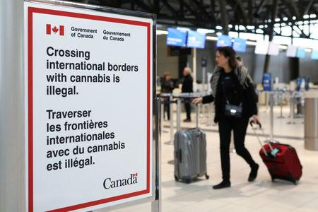 FILE PHOTO: A sign warning travellers about crossing international borders with cannabis is seen at the Ottawa International Airport in Ottawa, Ontario, Canada, October 15, 2018. REUTERS/Chris Wattie/File Photo