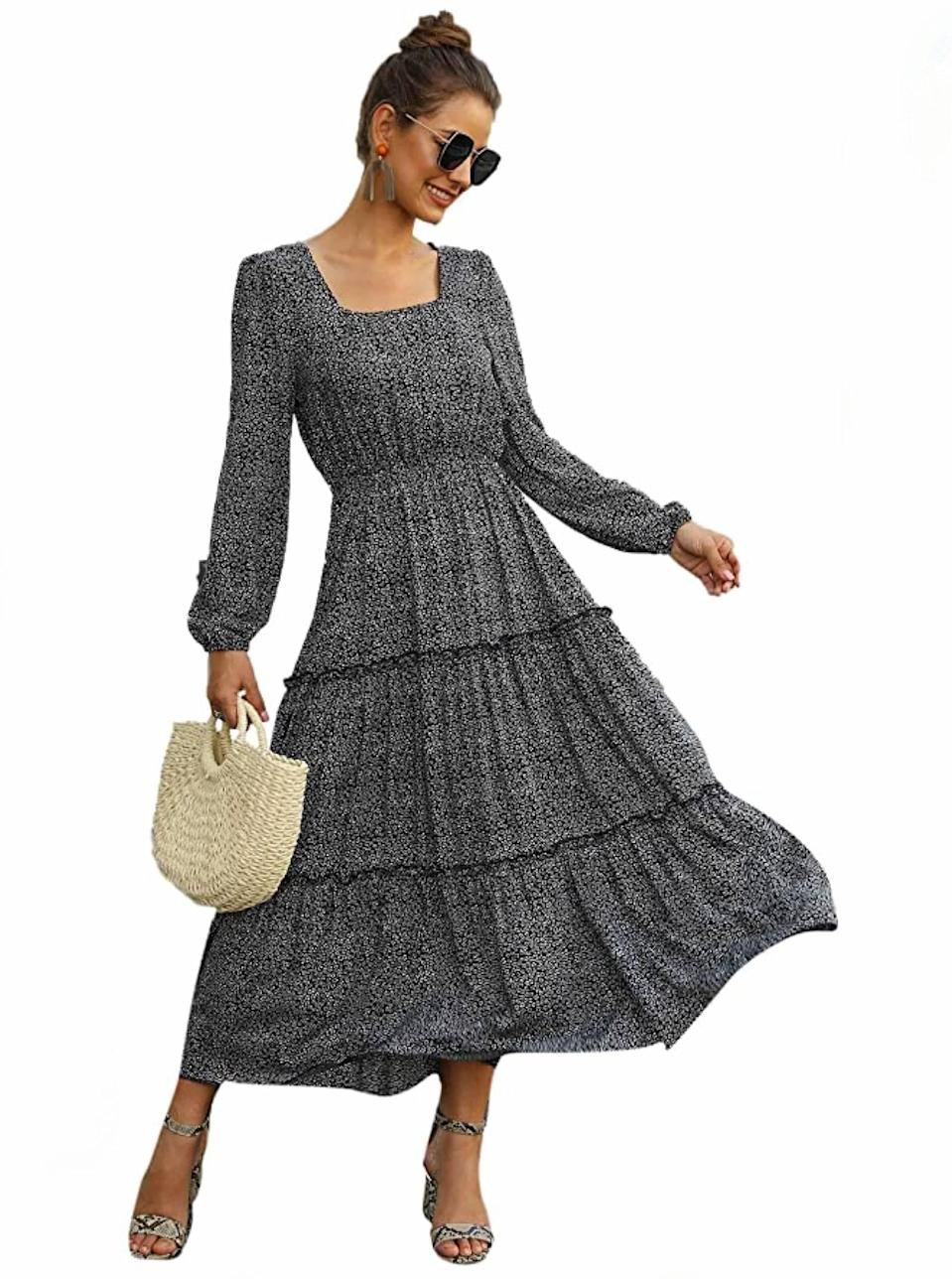 """From the square neckline to the slight balloon sleeves, we're here for the detailing on this flowy situation. $33, Amazon. <a href=""""https://www.amazon.com/SweatyRocks-Womens-Sleeve-Chiffon-Multicolor/dp/B0814JLN2G"""" rel=""""nofollow noopener"""" target=""""_blank"""" data-ylk=""""slk:Get it now!"""" class=""""link rapid-noclick-resp"""">Get it now!</a>"""