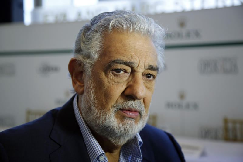 "FILE - In this Aug. 26, 2014, file photo, Placido Domingo speaks at the Dorothy Chandler Pavilion in Los Angeles. The cancellation Tuesday, Sept. 24, 2019, of Domingo's Metropolitan Opera performance in ""Macbeth"" means the singer, who has been accused by multiple women of sexual misconduct, has only a few U.S. shows scheduled, all set for California in 2020. Domingo has said he strongly disputes the allegations made against him. (AP Photo/Damian Dovarganes, File)"