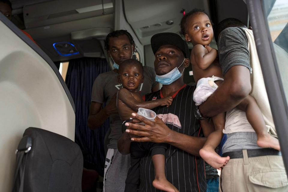 Haitian migrants at a checkpoint in Veracruz, Mexico, on Sept. 13, 2021.