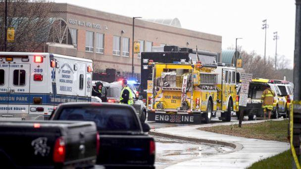 Emergency crews converge at Great Mills High School on March 20, 2018, after the shooting incident