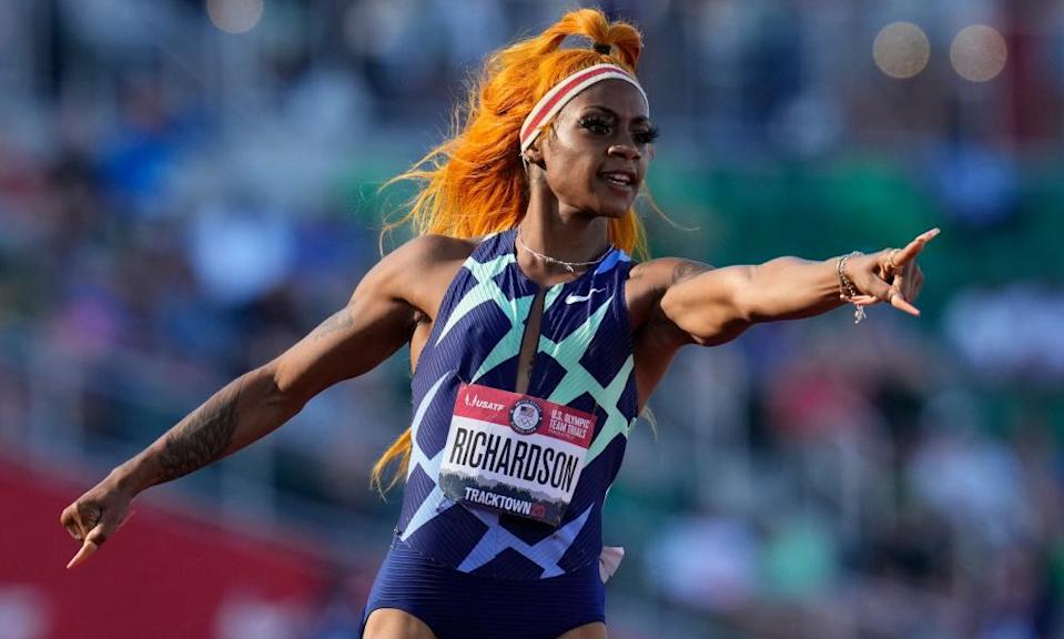 Richardson celebrates after winning the first heat of the semi finals in women's 100-meter run at the U.S. Olympic Track and Field Trials in June.