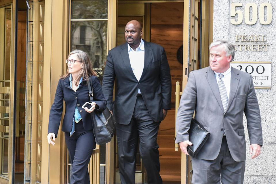 Chuck Person, 53, exits the Federal Courthouse in Manhattan on October 10, 2017 in New York City. Several people associated with NCAA Basketball have been charged as part of a corruption ring. (Getty)