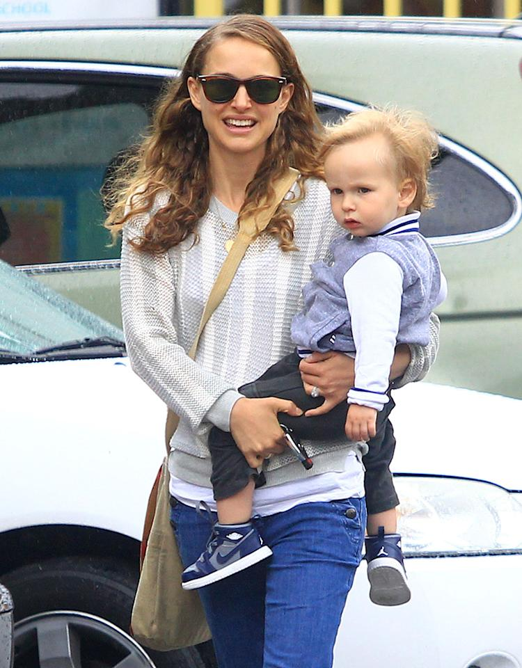 Natalie Portman was all smiles, but her 2-year-old son Aleph didn't look as excited for his outing with Mom in Los Feliz, California, on Monday. (5/6/2013)