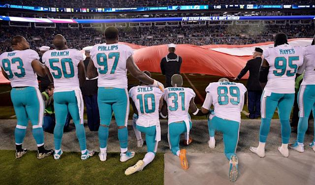 The Dolphins won't be kneeling in 2018, according to their owner. (Getty)