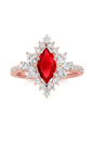 "<p>Rubies can range in color—from pigeon blood red (like this stunner) to a more soft, pinkish shade. The red hue comes from traces of the mineral chromium in the stone. <br></p><p><em>Marquise and pear-shaped and round diamond halo engagement ring, $2,425 (for setting only), <a href=""https://www.shaneco.com/engagement-rings/halo-engagement-rings/marquise%2C-pear-shaped-and-round-diamond-halo-engagement-ring/p/41088555?gemstone=Ruby&shape=Round&size=6.00"" rel=""nofollow noopener"" target=""_blank"" data-ylk=""slk:shaneco.com"" class=""link rapid-noclick-resp"">shaneco.com</a>.</em></p><p><em><a class=""link rapid-noclick-resp"" href=""https://www.shaneco.com/engagement-rings/halo-engagement-rings/marquise%2C-pear-shaped-and-round-diamond-halo-engagement-ring/p/41088555?gemstone=Ruby&shape=Round&size=6.00"" rel=""nofollow noopener"" target=""_blank"" data-ylk=""slk:SHOP"">SHOP</a><br></em></p>"
