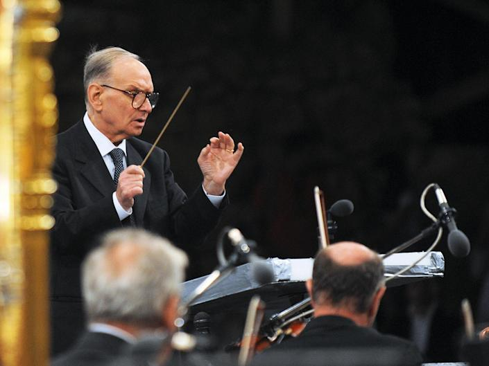 Morricone performs at the opening concert of the 49th Ohrid summer festival in 2009: AFP via Getty Images