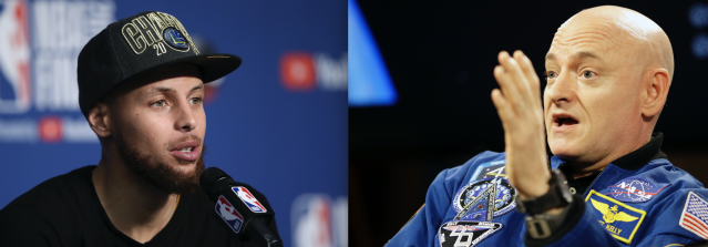 "<a class=""link rapid-noclick-resp"" href=""/nba/players/4612/"" data-ylk=""slk:Stephen Curry"">Stephen Curry</a> spoke with retired NASA astronaut Scott Kelly on Saturday. (AP Photos)"