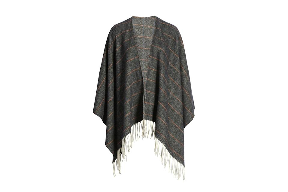 "$395, Nordstrom. <a href=""https://www.nordstrom.com/s/rag-bone-herringbone-check-wool-cape/5713794?origin=category-personalizedsort&breadcrumb=Home%2FSale%2FMen%2FAccessories%2FHats%2C%20Scarves%20%26%20Sunglasses&color=black%20multi"" rel=""nofollow noopener"" target=""_blank"" data-ylk=""slk:Get it now!"" class=""link rapid-noclick-resp"">Get it now!</a>"