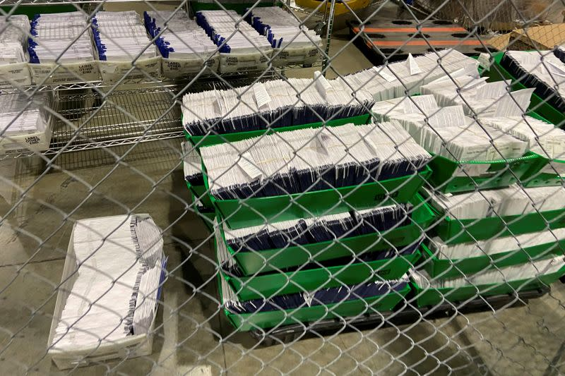 FILE PHOTO: Mailed election ballots are stored before counting at the Philadelphia Convention Center in Philadelphia