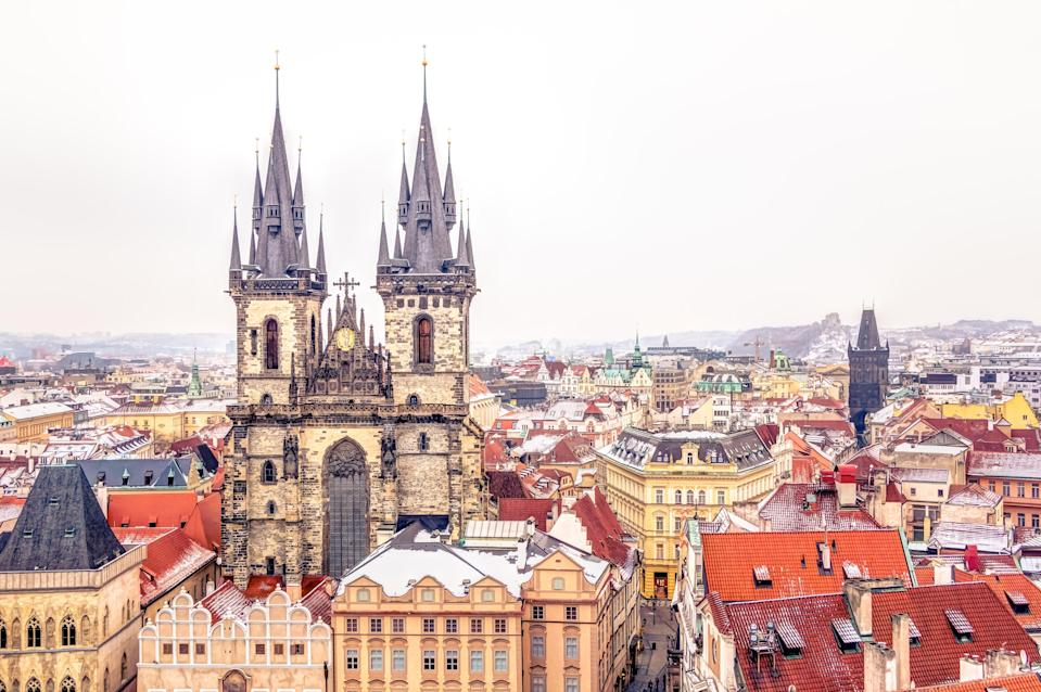 """When a dusting of snow coats St. Charles Bridge and Old Town's church spires, the whole of <a href=""""https://www.cntraveler.com/gallery/15-photos-that-will-make-you-want-to-visit-prague?mbid=synd_yahoo_rss"""" rel=""""nofollow noopener"""" target=""""_blank"""" data-ylk=""""slk:Prague"""" class=""""link rapid-noclick-resp"""">Prague</a> transforms. But the city also has some of Europe's <a href=""""https://www.cntraveler.com/gallery/best-christmas-markets-in-europe?mbid=synd_yahoo_rss"""" rel=""""nofollow noopener"""" target=""""_blank"""" data-ylk=""""slk:best Christmas markets"""" class=""""link rapid-noclick-resp"""">best Christmas markets</a> (outside of <a href=""""https://www.cntraveler.com/gallery/the-best-christmas-markets-in-germany?mbid=synd_yahoo_rss"""" rel=""""nofollow noopener"""" target=""""_blank"""" data-ylk=""""slk:Germany"""" class=""""link rapid-noclick-resp"""">Germany</a>, at least)—where even the most jaded traveler will succumb to the trdelník (fried dough) and mulled wine sold in festive stalls."""