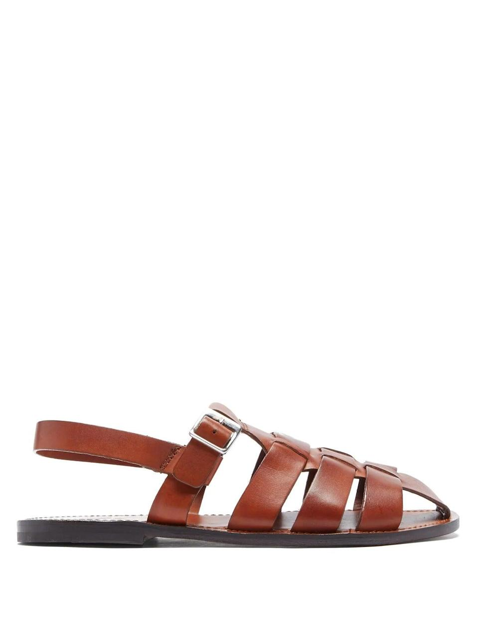 """<br><br><strong>Grenson</strong> Quincy Leather Sandals, $, available at <a href=""""https://www.matchesfashion.com/products/1404757"""" rel=""""nofollow noopener"""" target=""""_blank"""" data-ylk=""""slk:Net-A-Porter"""" class=""""link rapid-noclick-resp"""">Net-A-Porter</a>"""