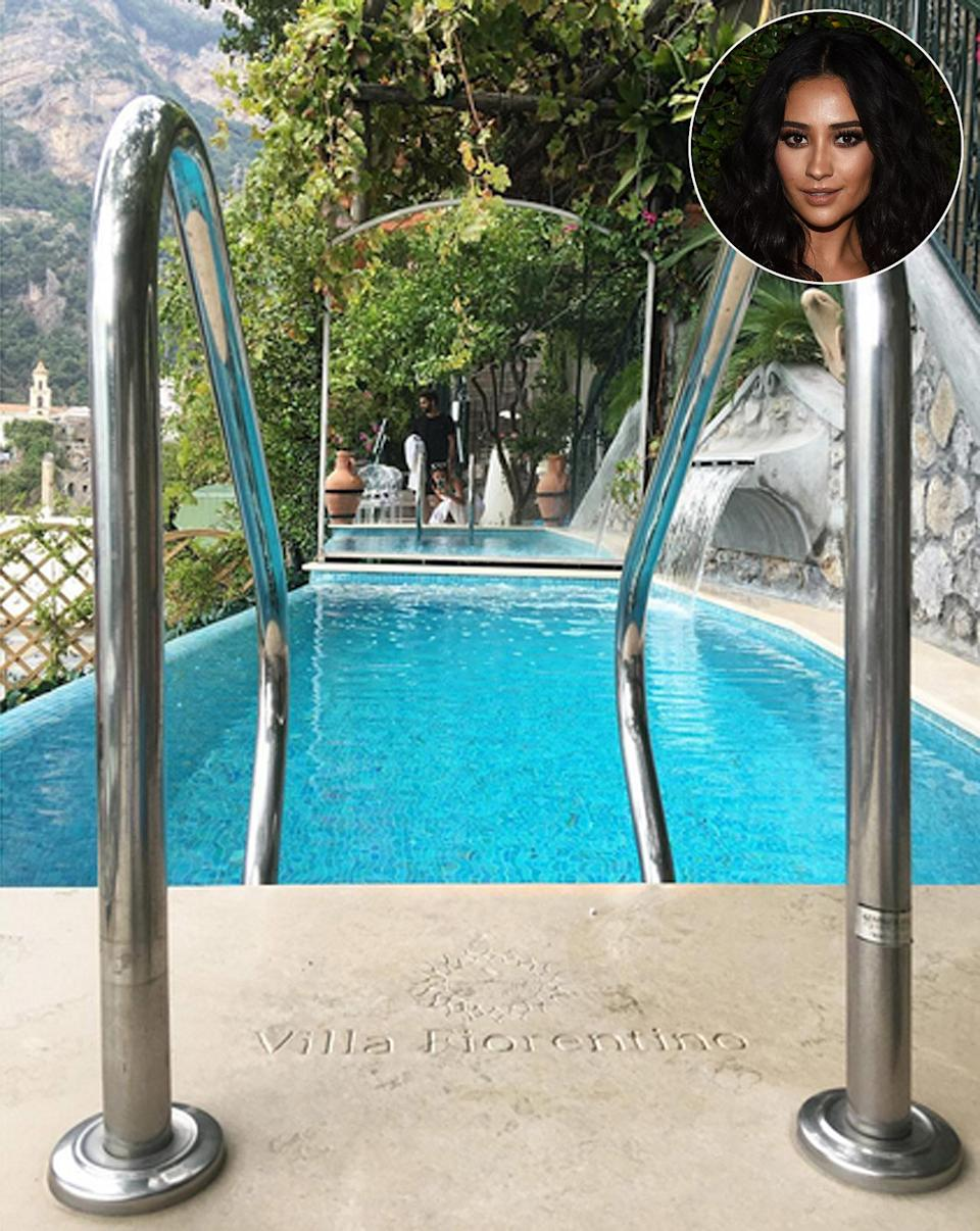 """<p><strong>Location:</strong> Positano, Italy</p> <p>During a week of pizza and pasta in celebration of her <i>Pretty Little Liars</i> costar <a href=""""http://people.com/home/troian-bellisario-bachelorette-party/"""" rel=""""nofollow noopener"""" target=""""_blank"""" data-ylk=""""slk:Troian Bellisario's bachelorette party"""" class=""""link rapid-noclick-resp"""">Troian Bellisario's bachelorette party</a>, Shay Mitchell made a stop at the <a href=""""http://www.anrdoezrs.net/links/8029122/type/dlg/sid/POTRAVSpotCelebHotelVillaFiorentinoMM/https://www.hotels.com/hotel/details.html?as-srs-report=HomePage%7CAutoS%7CHOTEL%7CVilla+Fiorentino%7Cundefined%7Cundefined%7Cundefined%7Cundefined%7C1%7C20%7C436585&tab=description&hotel-id=436585&q-room-0-adults=2&ZSX=0&SYE=3&q-room-0-children=0"""" rel=""""nofollow noopener"""" target=""""_blank"""" data-ylk=""""slk:Villa Fiorentino on the Amalfi Coast"""" class=""""link rapid-noclick-resp"""">Villa Fiorentino on the Amalfi Coast</a>. Although the private terraces and five-star perks (like breakfast brought to the suites each morning) are great, the heated infinity pools on the highest level of the villa are the real reason for a visit.</p>"""