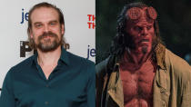 <em>Stranger Things</em> actor David Harbour got bulkier, redder and hornier to play the demonic antihero in the rather ill-fated <em>Hellboy</em> reboot. (Credit: Jason Mendez/Getty Images/Lionsgate)