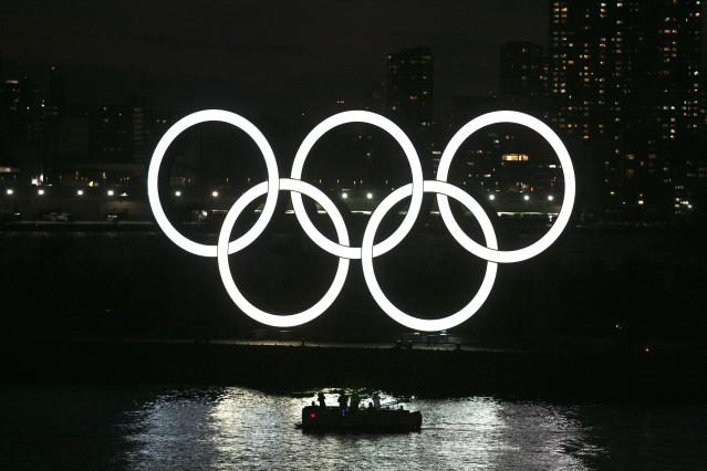 The Olympic rings in the Odaiba section of Tokyo. (AP Photo/Jae C. Hong)