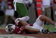 Stanford's John Humphreys (5) scores a touchdown against Oregon during overtime of an NCAA college football game in Stanford, Calif., Saturday, Oct. 2, 2021. (AP Photo/Jed Jacobsohn)