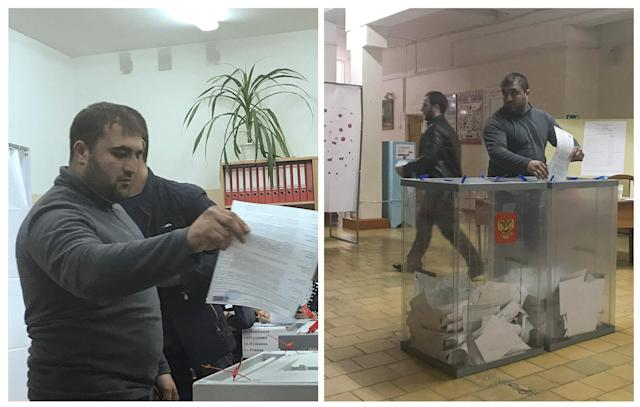 A combination picture shows a voter casting a ballot at a polling station number 217 (L) and casting a ballot at a polling station number 216, during the presidential election in Ust-Djeguta, Russia March 18, 2018. The voter declined to comment to Reuters reporter when asked why he was voting a second time, and left the building quickly. Pictures taken March 18, 2018. REUTERS/Staff