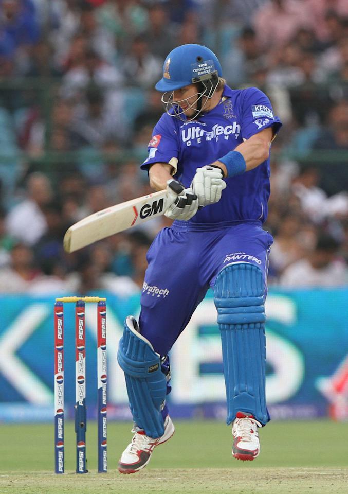 Rajasthan Royals player Shane Watson during match 36 of the Pepsi Indian Premier League ( IPL) 2013  between The Rajasthan Royals and the Sunrisers Hyderabad  held at the Sawai Mansingh Stadium in Jaipur on the 27th April 2013.(BCCI)